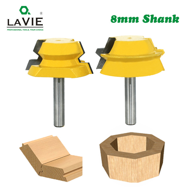 LAVIE 2pcs 8mm Shank Lock Miter Router Tenon Bits 22.5 องศากาว Joinery เครื่องตัดชุดสำหรับไม้เครื่องตัดไม้ MC02065
