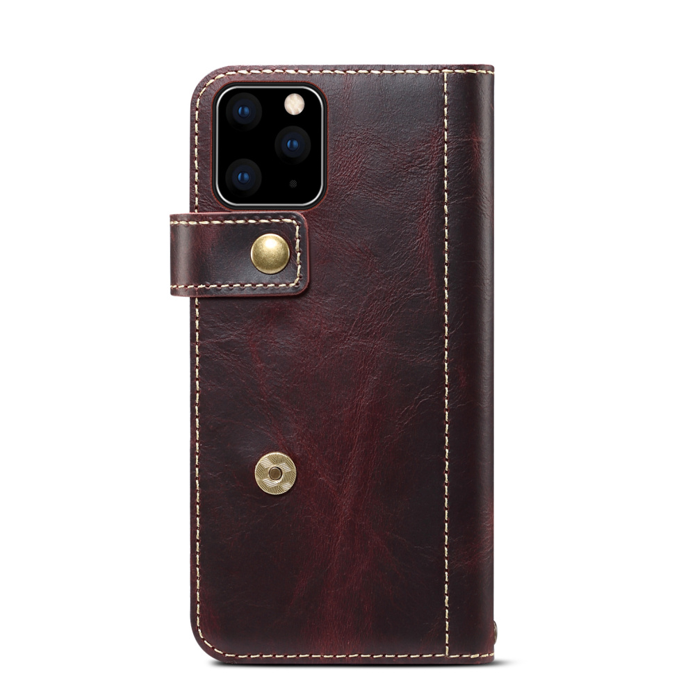 Premium Leather Magnet Button Flip Strap Case for iPhone 11/11 Pro/11 Pro Max 55