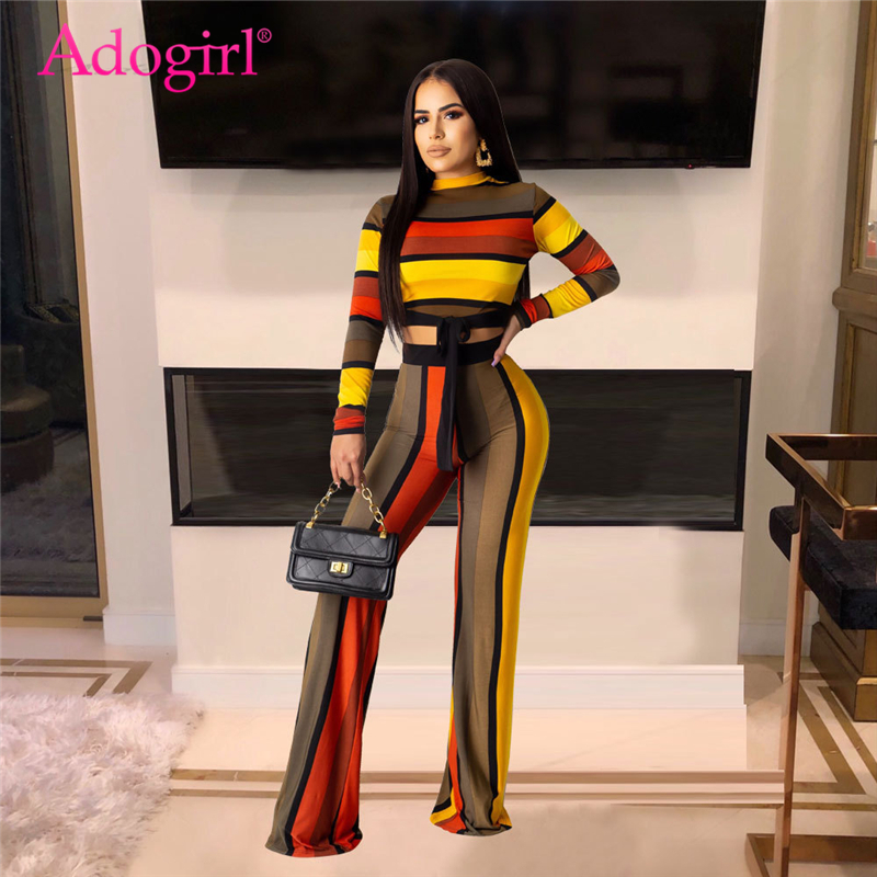 Adogirl Colorful Stripe Casual Two Piece Set O Neck Long Sleeve Bow Tie Crop Top Wide Leg Pants 2019 Autumn Women Fashion Suits