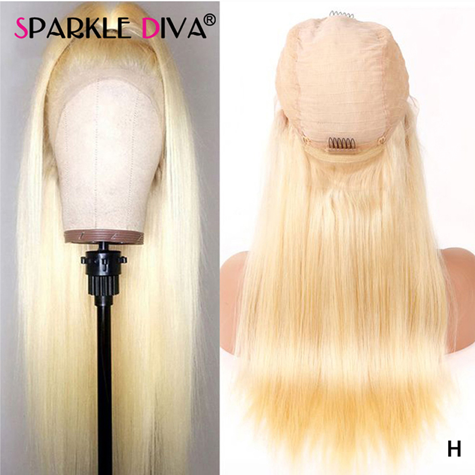 613 Honey Blonde Lace Front Wig Brazilian Straight Human Hair Wigs For Women 150 Transparent 13*4 Lace Front Wig 613 Blonde Remy