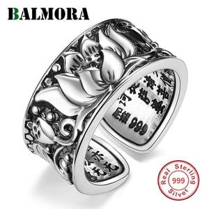 Image 1 - BALMORA ريال 999 الفضة النقية لوتس زهرة البوذية سوترا المفتوحة خواتم للنساء الرجال هدية الدينية ريترو مجوهرات الأزياء Anillos
