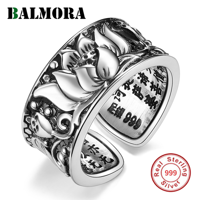 BALMORA Real 999 เงิน Lotus ดอกไม้พุทธศาสนา Sutra เปิดแหวนผู้หญิงผู้ชายของขวัญทางศาสนา Retro แฟชั่นเครื่องประดับ Anillos