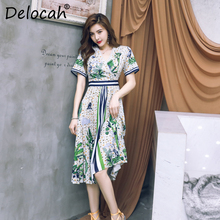 Delocah Runway Fashion Summer Pleated Dress Womens Cross V Neck Hollow Out Printed High Waist Elegant Casual Midi Dresses 2019