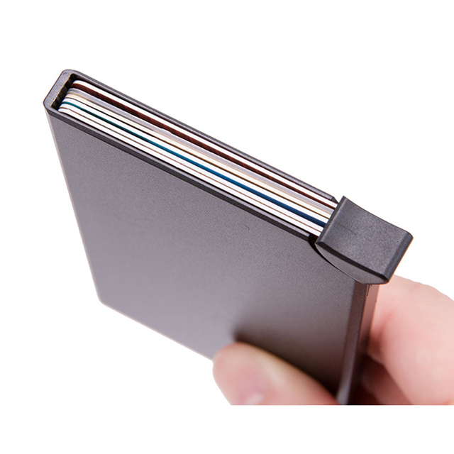 RFID Anti-theft Smart Wallet Thin ID Card Holder Unisex Automatically Solid Metal Bank Credit Card Holder Business Mini 3
