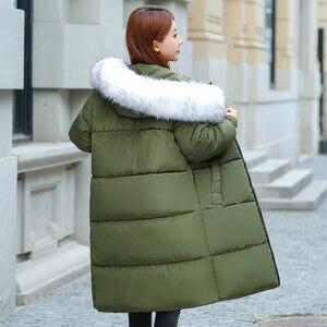 Image 5 - Plus rozmiar 5XL 6XL 7XL płaszcz zimowy kobiety futro z kapturem kołnierz Oversize luźna kurtka zimowa kobiety długie parki duży rozmiar dół kurtki