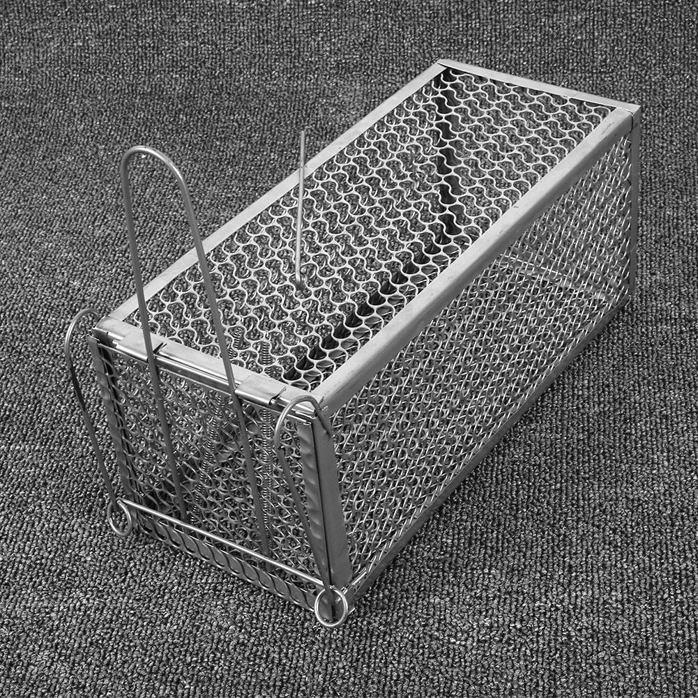 SOLEDI 1pc Steel Cage Mouse Control Catch Animal Trap Rat Metal 30*12*24cm Squirrel High Sensitivity Mice Garden Silver Rat Cage