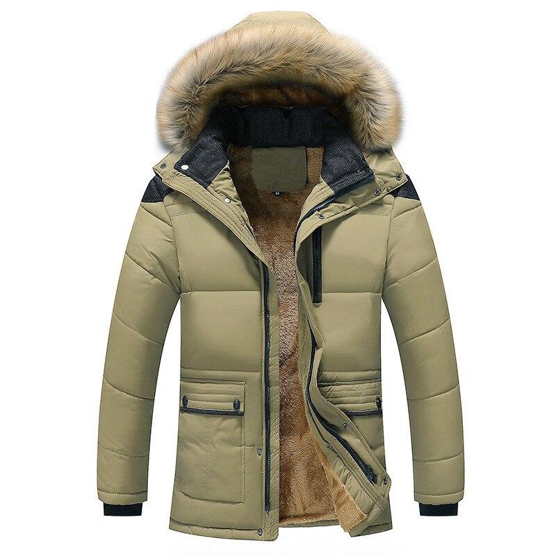 Quality Large Size Men Parkas Coat Plus Velvet Thicken Slim Zipper Winter Clothing Warm Detachable Fur Collar Mens Winter Jacket