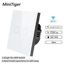 Minitiger WIFI Tuya 스마트 라이프 Ewelink 홈 스마트 스위치 APP 무선 원격 벽 라이트 터치 스위치 Alexa Google 홈으로 작동