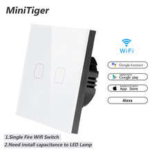Minitiger WIFI Tuya Smart Life Ewelink Home Smart Switch APP Wireless Remote Wall Light Touch Switch Work With Alexa Google Home