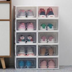 6 PC Transparan Kotak Sepatu Tahan Debu Kotak Penyimpanan Dapat Ditumpangkan Kombinasi Sepatu Clamshell Organizer Sepatu