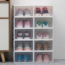 6pc Transparente schuh box lagerung schuh boxen verdickt staubdicht schuhe organizer box überlagert werden können kombination schuh schrank