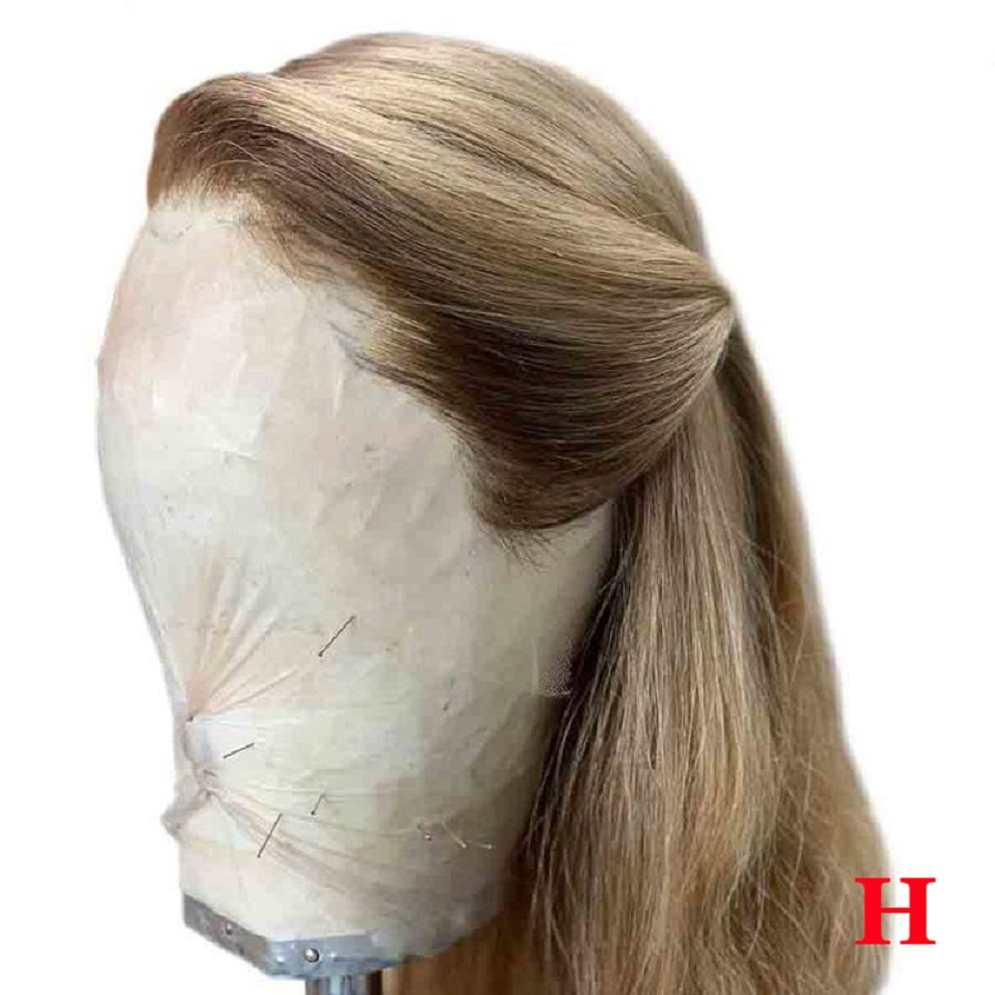 Straight Pure Ash Honey Blonde 13*6 Lace Front Human Hair Wigs Fake Scalp Colored Human Hair Wigs Pre Plucked Brazilian Remy
