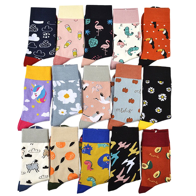 Women Cartoon Animal Fruit Casual Colorful Cute Socks Crew Socks Street Skateboard Socks Happy Funny Harajuku Novelty Gift Socks