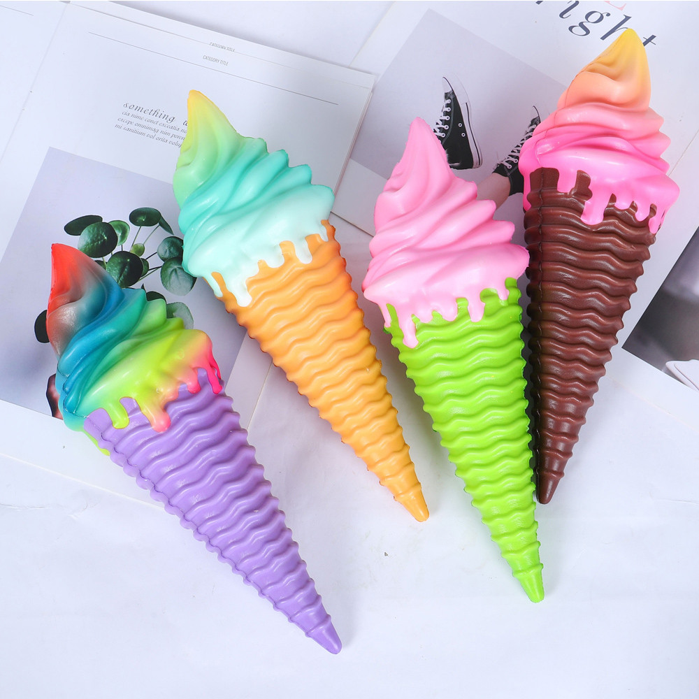 1 Slow Rebound Toy PU Simulation Colorful Ice Cream Decompression Toy (purple / Green / Brown / Yellow)Funny Toy L1224