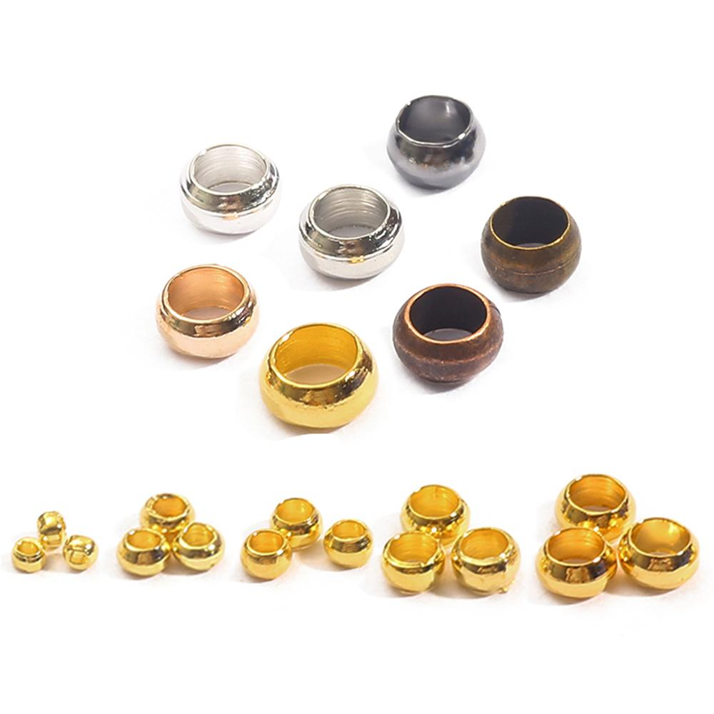 Dia 1.5/2/2.5/3/3.5/4mm Gold Silver Copper Ball Crimp End Beads Stopper Spacer Beads For Diy Jewelry Making Findings Supplies