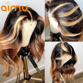 Ombre 27 Highlight 613 Deep Part HD Lace Front Human Hair Wigs Wavy 13x6 Lace Frontal Wigs For Women 150% Preplucked Body Wave image