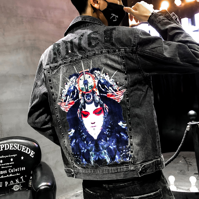 Fashion Men Denim Jacket Casual Hip Hop Bomber Jacket Face Print Broken Hole Beads Jeans Jacket Coats Outwear Chaquetas Hombre