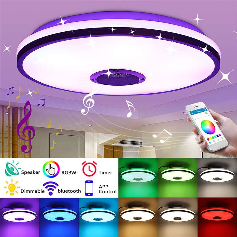 Modern LED Ceiling Lights Dimmable RGB Music Bluetooth Lamp For Living Room 72W APP Control Remote Control 85-220V