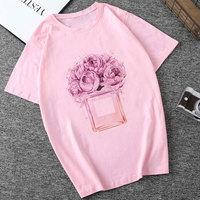 Camisetas Verano Mujer Plus Size Summer Women Vogue Lady Pink Print Perfume Aesthetic Tshirt Harajuku Tee Shirt Femme T shirt