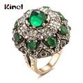 Кинели уникальный природный кольцо с зеленым камнем для женщин, Ретро стиль, антиквариат, золотого цвета, с отделкой стразами, с цветами и бо...
