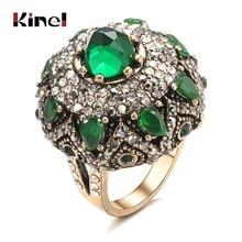 Kinel-anillos de piedra verde Natural para mujer, joyas turcas de oro antiguo Vintage, flor de cristal grande, anillo de regalo de Navidad