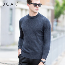 UCAK Brand Pure Merino Wool Sweater Men O-Neck Solid Contracted Warm Autumn Winter New Fashion Trend Pull Homme Sweaters U3140