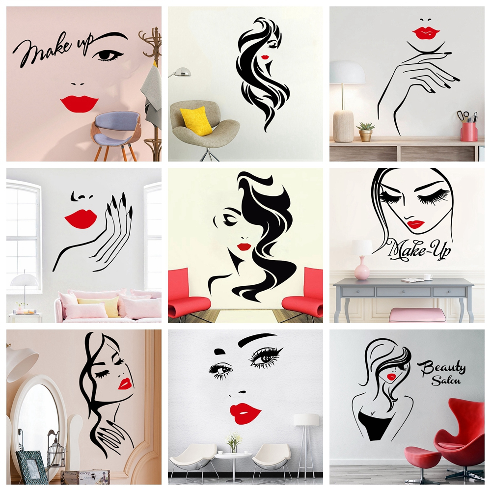 Salón de belleza hermosa pegatina para pared de señora peluquería para señora labios rojos pegatina de maquillaje de vinilo para el cabello peluquería calcomanía de barberos Borde de espuma banda cintura línea tira 3D adhesivos fondo de pared borde anti-colisión impermeable zócalo pared pegatinas