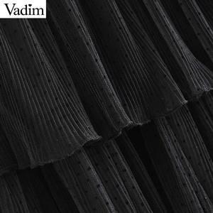 Image 5 - Vadim 여성 세련된 블랙 메쉬 스커트 다층 프릴 탄성 허리 여성 중반 송아지 캐주얼 세련된 스커트 ba800
