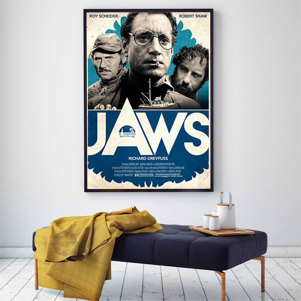 JAWS Poster Shark Classic Horror Movie Posters and Prints Canvas Painting Wall Art Picture for Living Room Home quadro cuadros image