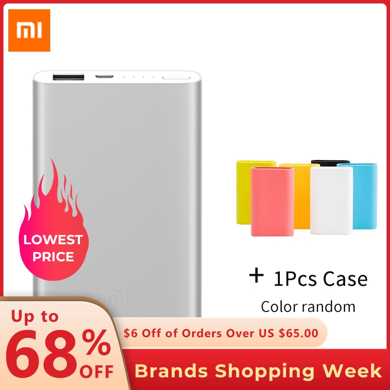 Xiaomi Power-Bank External-Battery Silicone-Case Portable Charger Li-Polymer Slim 5000