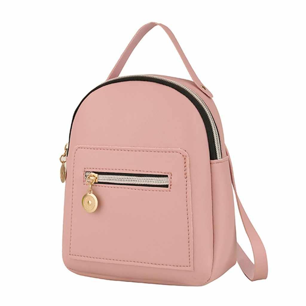 Mini mochila mujer bolso de hombro de cuero de PU para chicas adolescentes niños Multi-función pequeña mochila escolar para mujeres señoras #25