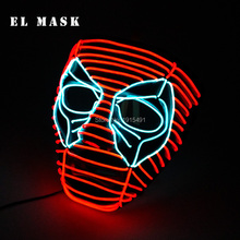 цены New Arrival Neon led Mask Deadpool Cosplay Costume EL Mask Carnival Festival Led Rave Mask For Halloween Christmas