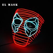 New Arrival Neon led Mask Deadpool Cosplay Costume EL Carnival Festival Led Rave For Halloween Christmas