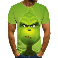 Новинка, Детская футболка с 3d принтом, футболка с рисунком аниме из мультфильма «Grinch», модная футболка с милым рисунком животных для мальчик...