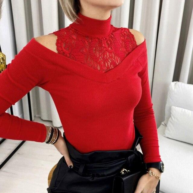 Blusa holgada informal de encaje con manga larga para primavera y otoño, camisa Sexy color liso con cuello redondo para mujer 3