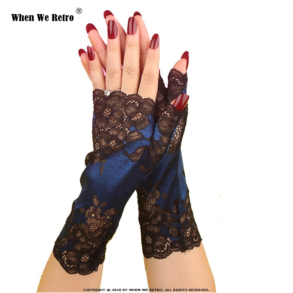 When We Retro Autumn Long Gloves Women Halloween Party Black Lace Fingerless Long Gloves Sexy Arm Sleeve Arm QY0533