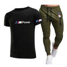 2021BMW Fashion Casual Sportswear Summer Alphabet Print Suit Men's Jogging Fitness Suit Men's Suit T-shirt + Pants 2-Piece Set