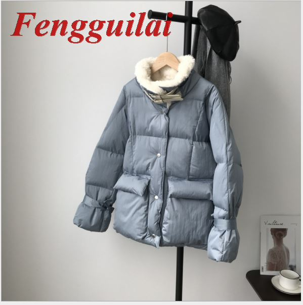 Fengguilai, Женская куртка, Осень зима 2019, отложной воротник, Женское пальто, женская верхняя одежда, Женская Толстая теплая короткая куртка, тонк... - 5