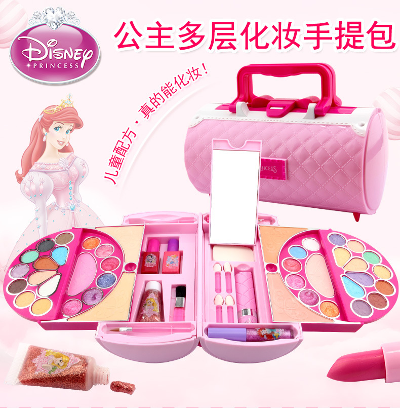 Disney Princess Frozen Makeup Box Children's Cosmetic Toys Handbag Safe Nontoxic Watersoluble Makeup Toys