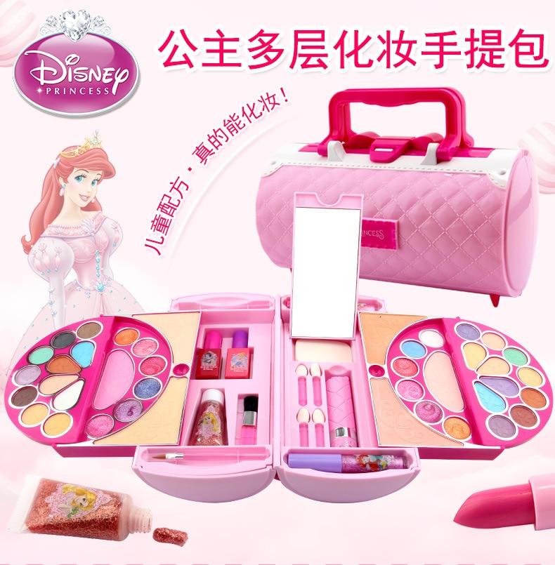 Disney Princess Frozen Makeup Box Children's Cosmetic Toys Handbag Safe Nontoxic Watersoluble Makeup Toys