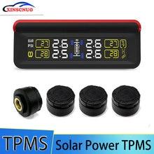 TPMS Car Tire Pressure Monitoring System LCD Display 4 External Sensors Auto Alarm System Solar Energy Diagnostic Tool careud t801 nf auto car tpms tire pressure solar panel monitoring system with 4 internal sensors