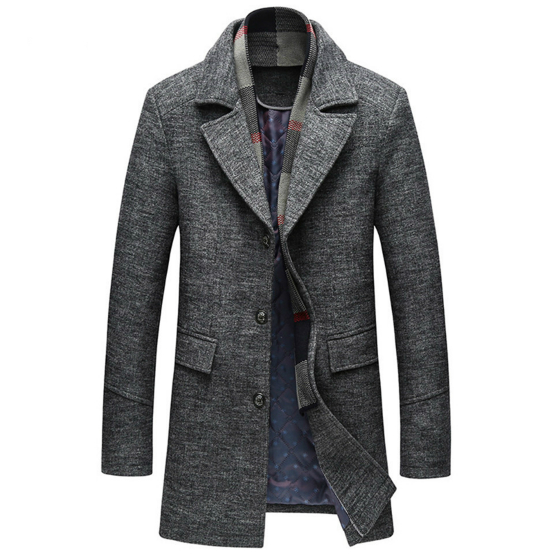 2019 Autumn Winter High-quality Men with A Scarf Lapel Plain Woollen Coat Casual and Cotton Men's Coat Warm Luxury Overcoat