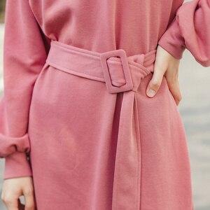 Image 4 - INMAN robe à manches longues, col ras du cou, robe littéraire à manches longues, avec ceinture, couleur Pure, printemps 2020 nouveauté