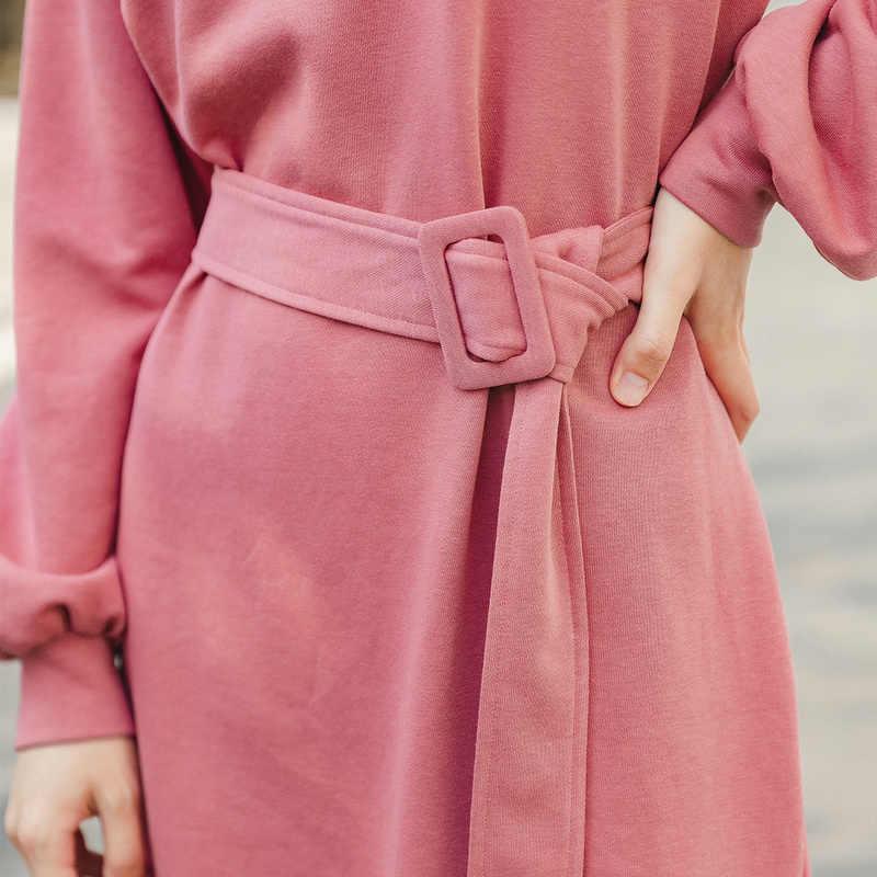 Inman 2020 primavera nova chegada literária moda crewneck cor pura emagrecimento vestido de manga longa com cinto