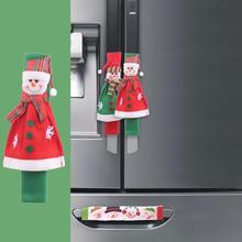 2-4 шт рождественские дверные ручки для холодильника, крышки для микроволновой печи, посудомоечной машины, кухонные приборы, перчатки, дверная ручка, тканевый протектор