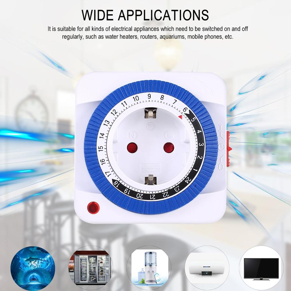 24 Hours Plug In Mechanical Grounded Programmable Timer Switch Smart Countdown Switch Socket Indoor Auto Power Off 230V