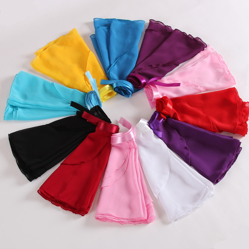 Children Black,Blue,Pink,Bright Pink,Lavender,White Kids Girl Ballet Tutu Dance Skirt Skate Wrap Chiffon Hot
