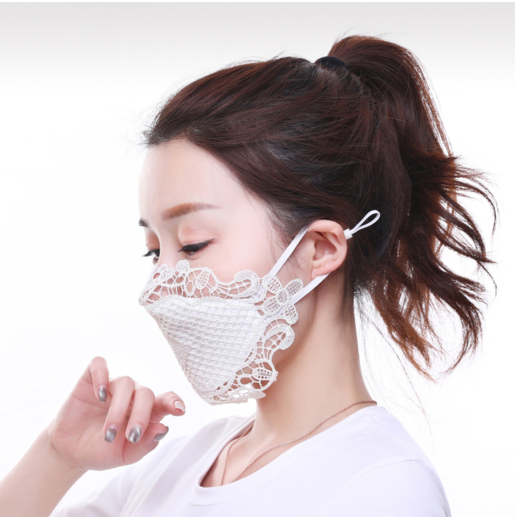 EXCARGO Mesh Lace Mask Women's Thin Lace Sunscreen Dustproof Face Mask Face Washable Face For Women Wedding Mask For Bride