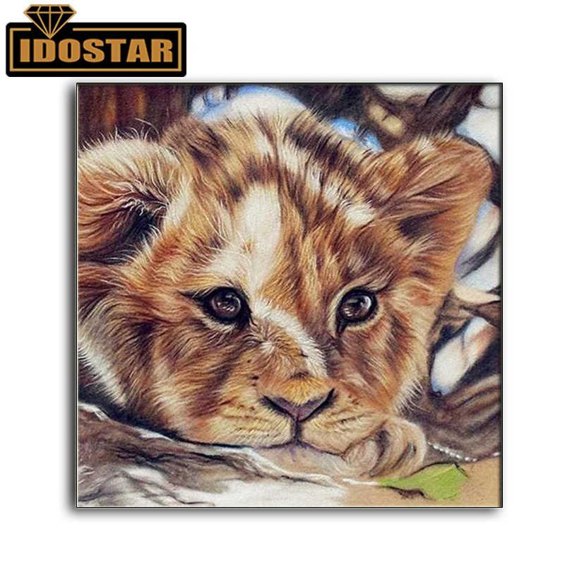 Vollständige kreisförmigen 5D DIY Diamant Malerei Tier lion Bild Diamant Stickerei Von Strass Diamant Wohnkultur