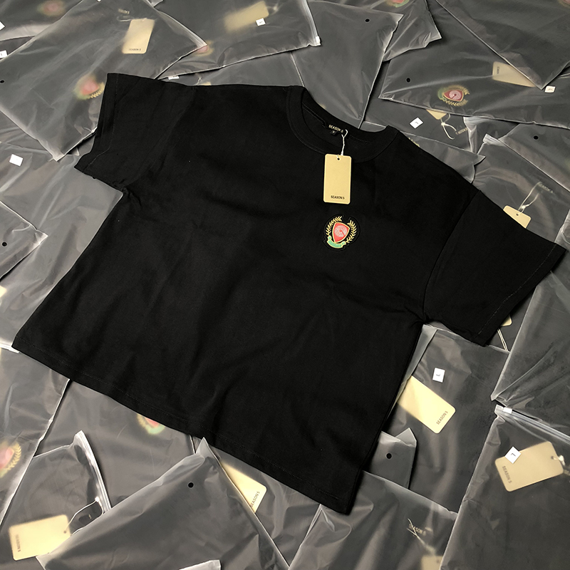 Calabasas T-shirt Men Women Summer Spring  T-shirts Kanye West Season 5/6 Tee Hip Hop Oversize Cotton Tops Badge Embroidery Logo